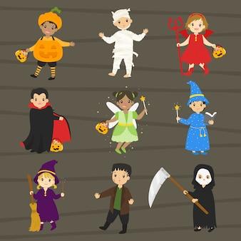 Kinderen in halloween-kostuums ingesteld
