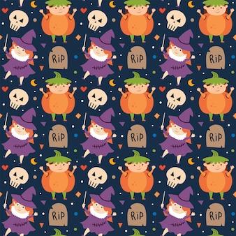 Kinderen in halloween-kostuums van griezelige wezens dag van dode vakantie naadloos patroon