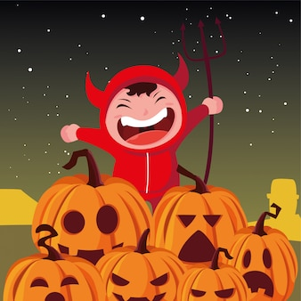 Kinderen in halloween-kostuums