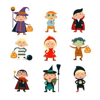 Kinderen in halloween-kostuumsillustratie