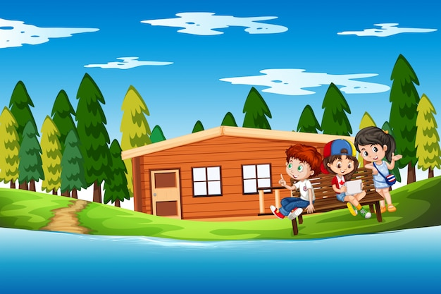 Kinderen in het zomerhuis