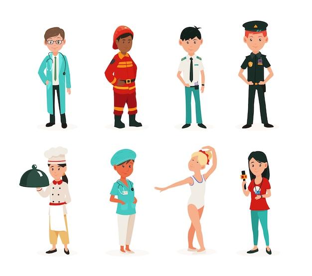 Kinderen in kleding van verschillende beroepen