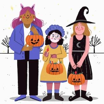 Kinderen in kostuums klaar voor trick or treat