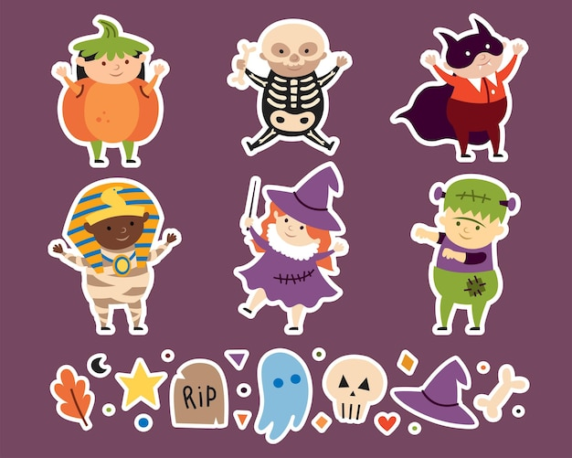Kinderen in kostuums van griezelige halloween wezens karakters vampier heks skelet pumpki