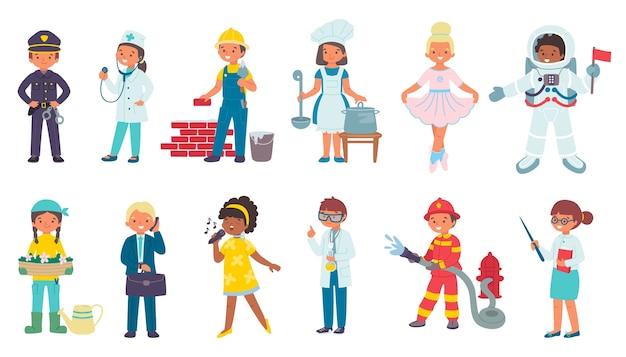 Kinderen in kostuums van verschillende beroepen