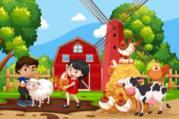 Kinderen in landbouwbedrijfscène met dieren Premium Vector