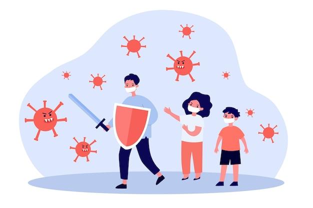 Kinderen in maskers die vechten tegen boze virussen
