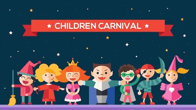 Kinderen in vakantie-, feest-, carnavalskostuums - moderne flat