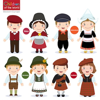 Kinderen in verschillende traditionele kostuums (wales, nederland, duitsland, schotland)