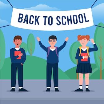 Kinderen in vlakke stijl terug naar school
