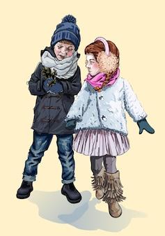 Kinderen in warme kleren lopen in de winter op straat