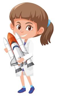 Kinderen in wetenschapper kostuum stripfiguur geïsoleerd op een witte achtergrond