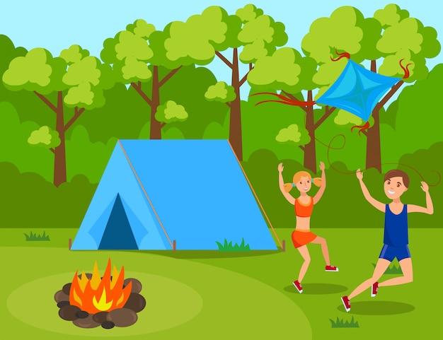 Kinderen in zomerkamp vlak