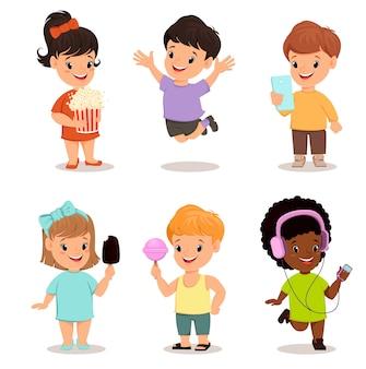 Kinderen instellen. schattige kinderen