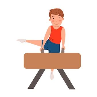 Kinderen is sport gymnastiek het kind doet oefeningen op een sportuitrusting