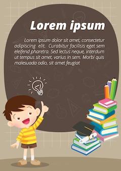 Kinderen jongen denken idee en schoolbord