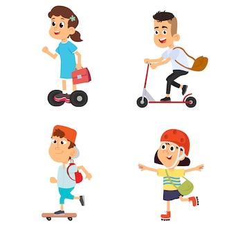 Kinderen, jongens en meisjes op rolschaatseninzameling op een wit