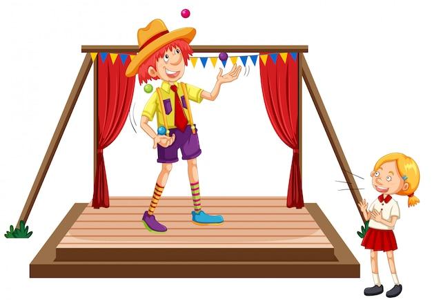 Kinderen kijken jongleren show