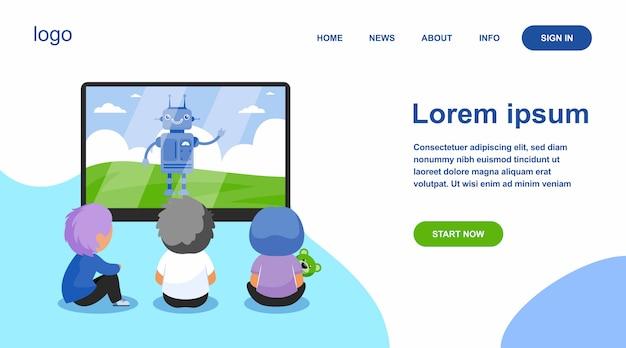 Kinderen kijken naar cartoon met robot