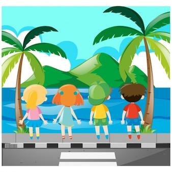 Kinderen kijken naar de zee