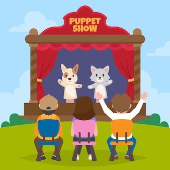 Kinderen kijken naar een geïllustreerde poppenshow