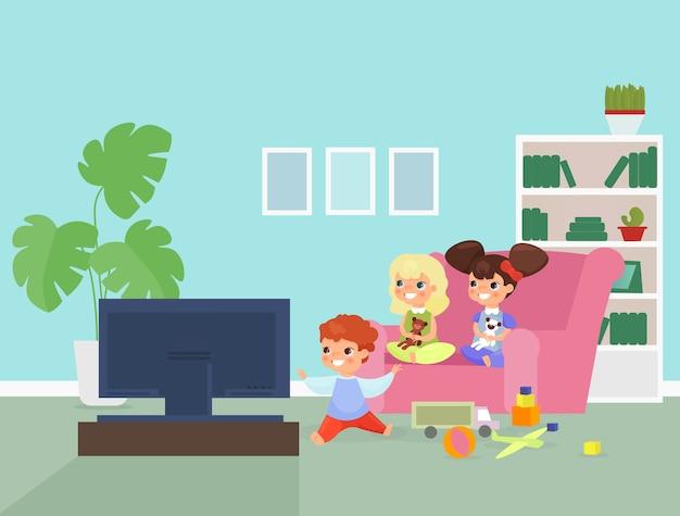 Kinderen kijken naar tv illustratie schattige kinderen zitten op de bank stripfiguren