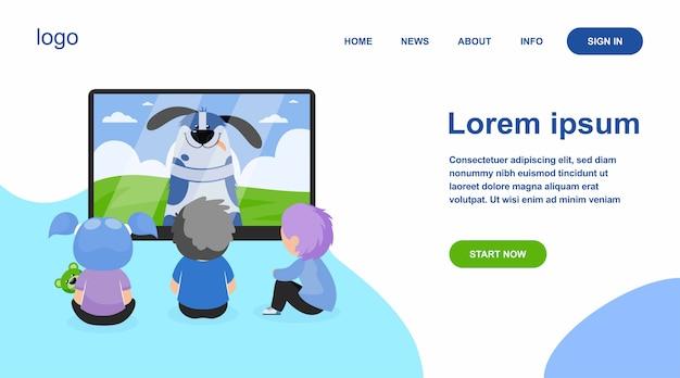 Kinderen kijken naar tv platte vectorillustratie