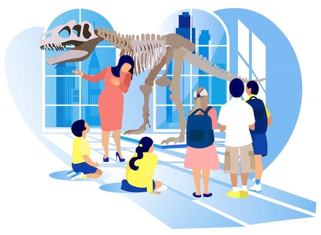 Kinderen kijken tyrannosaurus rex dinosaur skeleton