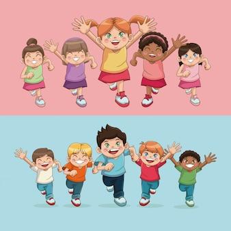 Kinderen kinderen jeugd vriendschap geluk diversiteit