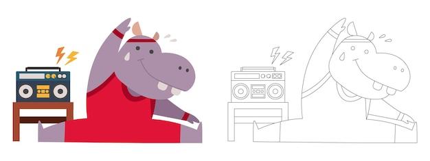 Kinderen kleurboek illustratie nijlpaard luister de muziek gymnastiek