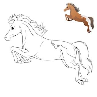 Kinderen kleuren met een paard. vectorillustratie. geïsoleerd