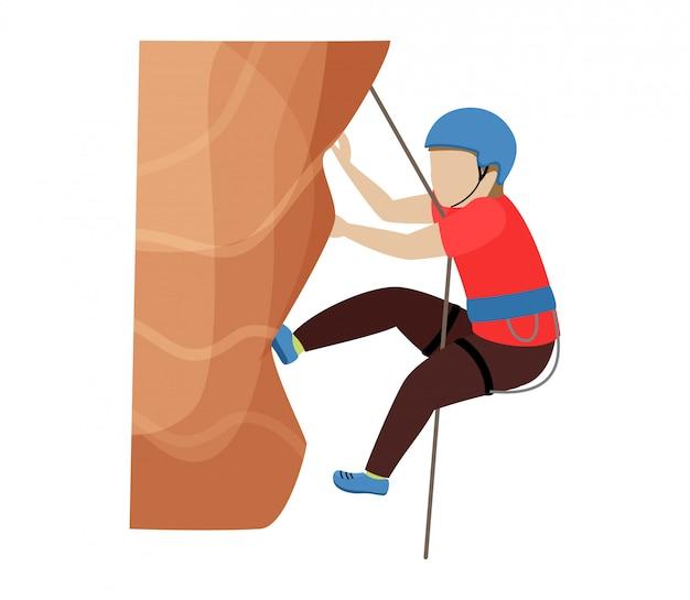 Kinderen klimmen klimmer kinderen karakter klimt rots bergmuur of bergachtige klif illustratie bergbeklimmen set van kind in extreme sport bergbeklimmer op witte achtergrond