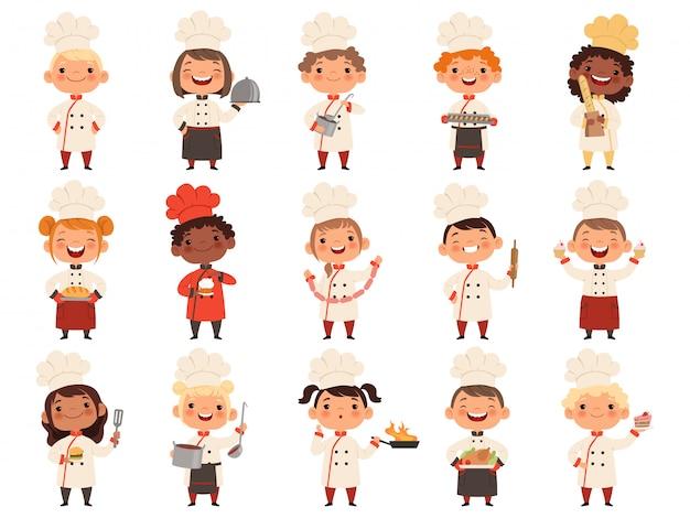 Kinderen koken. kleine grappige lachkinderen die chef-kokjongens en -meisjes van het voedselberoep maken
