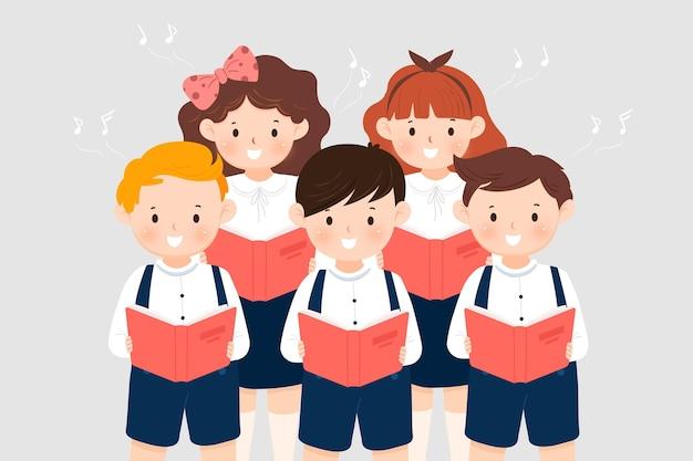 Kinderen koor zingen illustratie