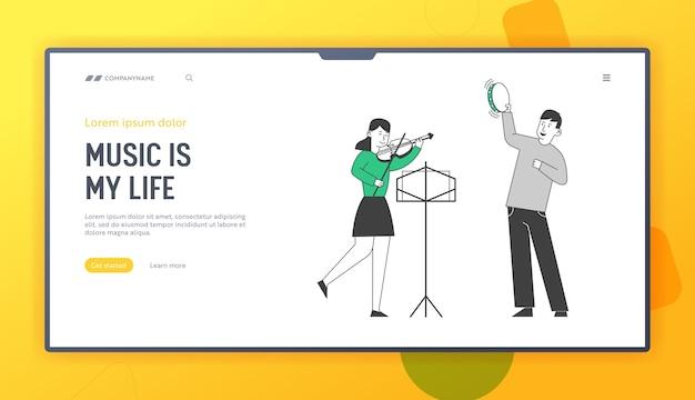 Kinderen krijgen onderwijs op de bestemmingspagina van de muziekschoolwebsite