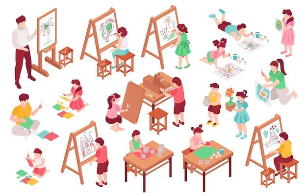 Kinderen kunstschool set met verf en penseel isometrisch geïsoleerd
