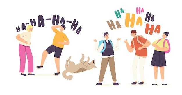Kinderen lachen concept. gelukkige meisjes en jongens karakters lachen expressie, grappige kinderen en hond chortle, ha-ha emotie, geluk, jeugd, vrolijke schoolkinderen. cartoon mensen vectorillustratie