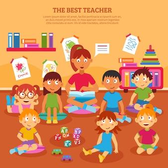 Kinderen leraar poster