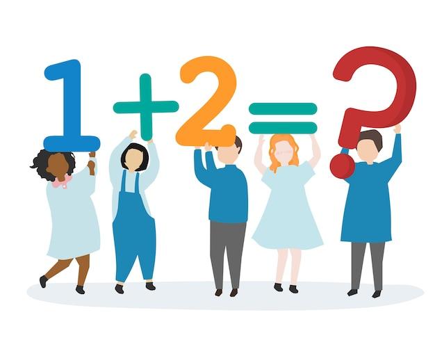 Kinderen leren cijfers en wiskunde