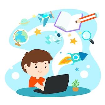 Kinderen leren online onderwijs.