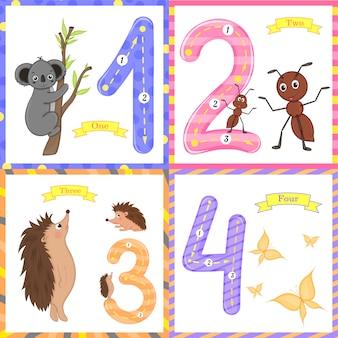 Kinderen leren tellen en schrijven. de studie van cijfers