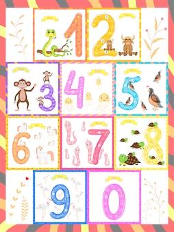 Kinderen leren tellen en schrijven. de studie van de nummers 0-10
