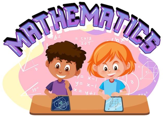 Kinderen leren wiskunde met wiskundesymbool en pictogram