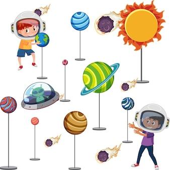 Kinderen leren zonnestelsel