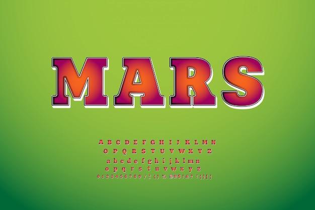 Kinderen lettertype 3d vetgedrukte typografie zonder serif stijl