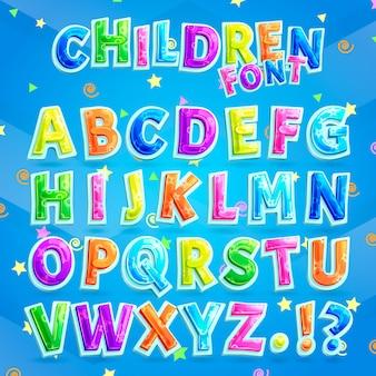 Kinderen lettertype vector. kleurrijk hoofdlettersalfabet voor jonge geitjes samen met vraag en uitroeptekens