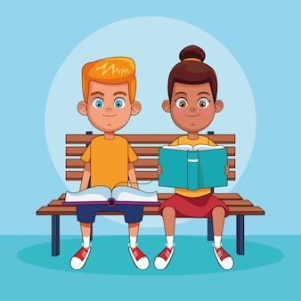 Kinderen lezen boeken cartoons