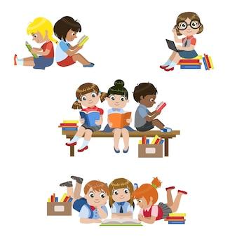 Kinderen lezen boeken set