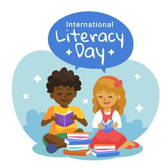 Kinderen lezen internationale dag van het alfabetisme