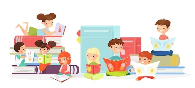 Kinderen lezen van boeken illustratie schattige kinderen met schoolboeken stripfiguren